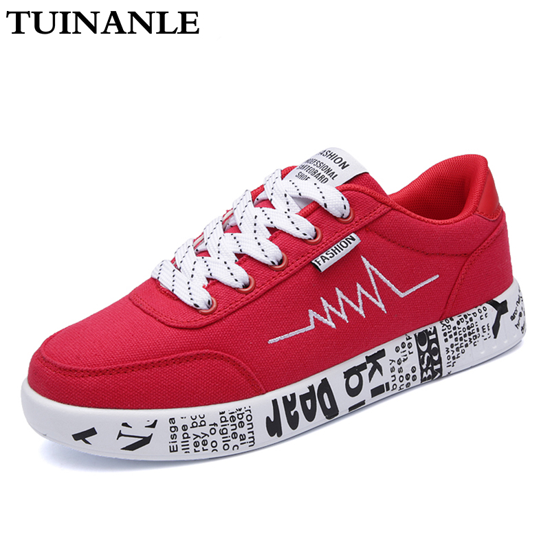 TUINANLE Sneakers Women 2020 Fashion Vulcanized Shoes Ladies Lace-up Men Casual Shoes Breathable Walking Canvas Graffiti Flats