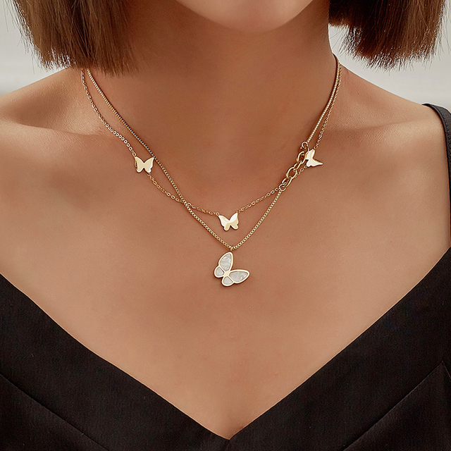Double Layer Necklace Female Butterfly Pendant Statement Clavicle Chain for Women Street Jewelry Gift 5