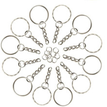 200 Pieces Keyring Blanks Split Key Rings with Link Chain and Open Jump Rings for Keys Crafts DIY(China)
