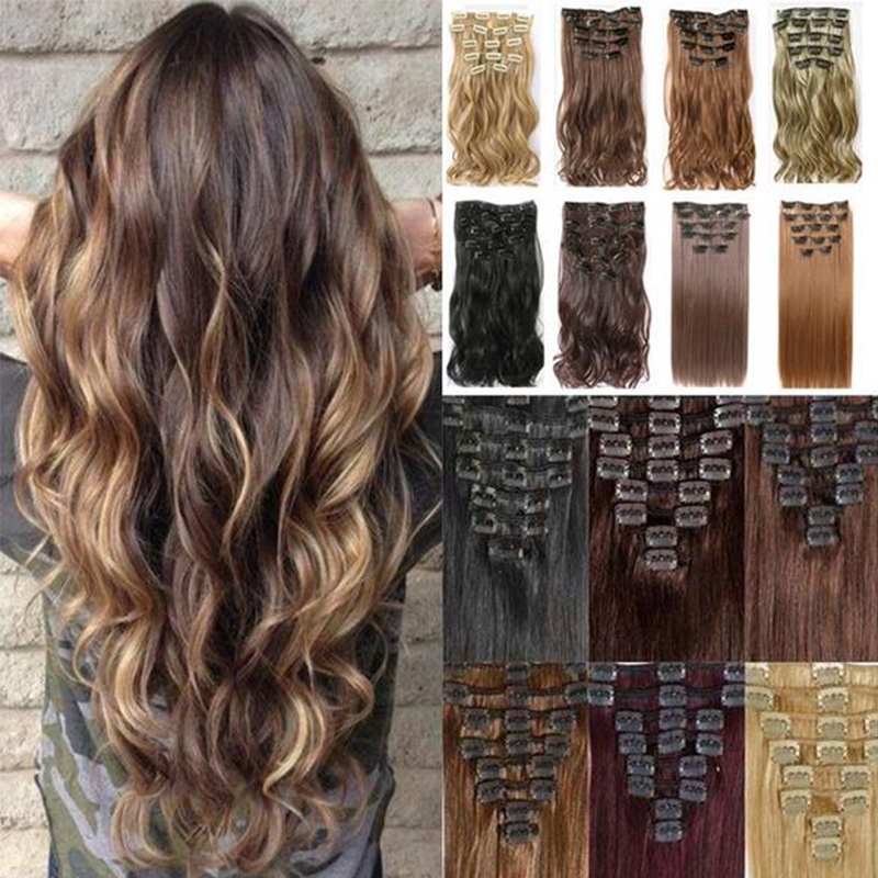 MERISI HAIR 22 Synthetic Straight Hair Heat Resistant Light Brown Gray Blond Women Hair Extension Set Clip In Ombre Hair