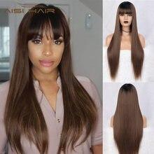Aisi hair 30 дюймов прямой длинный парик Омбре черный коричневый