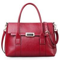 Luxury Women Handbags Real Leather Top handle Black Tote Bag Qiwang Designer Lady Office Hand Bags 2019 Large/Small Handbag
