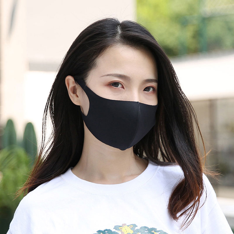 Black Blue Mouth Mask Breathable Unisex Sponge Face Mask Reusable Anti Pollution Face Shield Wind Proof Mouth Cover Wholesale