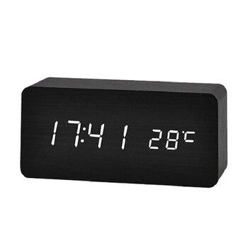 Horloge de Table en bois avec télécommande | Horloge numérique, commande vocale de bureau électronique, horloge USB/AAA, décor de Table