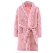 Осенне-зимняя теплая детская одежда для сна фланелевый Халат с поясом для девочек-подростков, детские пижамы для мальчиков, От 4 до 15 лет