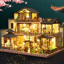 DIY Wooden Miniature Doll House Kit Luxurious Japanese Courtyard Building Assembly Model Kit Home Decoration Christmas Gifts