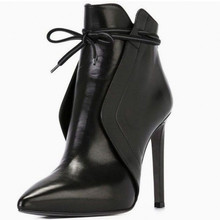 High Heels Women Boots Ladies Pointed Toe Thin  Short Booties elegant ladies bow High Heel For Wedding Casual Leather Shoes black khaki knitted elastic socks boots thick high heel ankle boots women 2019 pointed toe elegant short booties for ladies