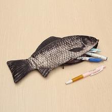 Сумка для ручек в виде карпа, реалистичный чехол для макияжа в форме рыбы, чехол для карандашей на молнии, сумочка для макияжа, повседневный подарок, косметичка, смешная сумочка