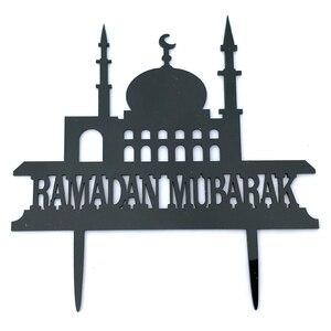 Image 5 - 1pcs Eid Mubarak Ramadan Cupcake Topper Decor Hajj Mubarak Cake Insert Card Muslim Eid Baking Baby Shower Party Supplies