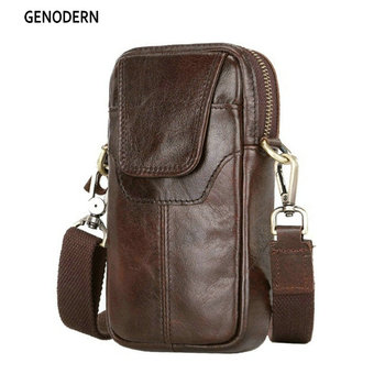GENODERN Genuine Leather Small Shoulder Bag for Men New Travel Fanny Pack Belt Loops Hip Bum Bag Waist Bag Mobile Phone Pouch new men casual waist pack bag brand genuine shoulder fanny pack women belt bag pouch money phone bum hip bag brown as gifts