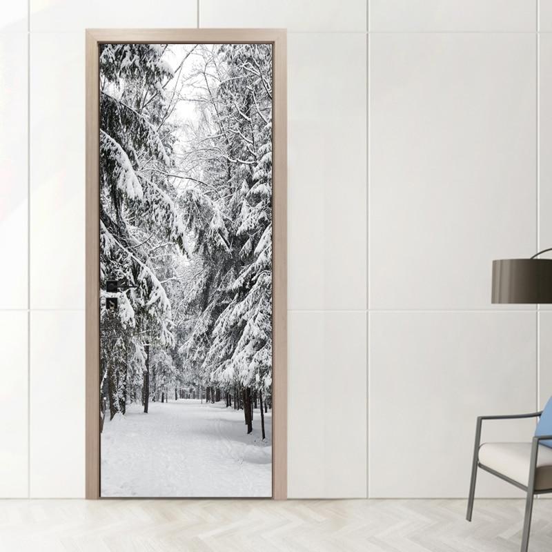 Ev ve Bahçe'ten Kapı Çıkartmaları'de Kapı dekor çıkartmalar 3D duvar resmi çıkarılabilir kendinden yapışkanlı vinil DIY çıkartmaları duvar kağıdı ev dekoratif title=