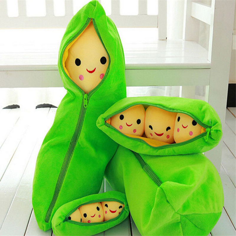 40/50/70/90CM Cute Pea Stuffed Plant Doll Baby Plush Toy For Children Or Girlfriend Funny Stuffed & Plush Pea-shaped Pillow Toy
