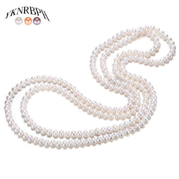 YKNRBPH Women's Long Natural Pearl Necklace Luxury Autumn and Winter Sweater Pearl chains [daimi] grey color pearl necklace 160cm long sweater chain natural pearl long necklace 8 9mm rice pearl beach style 2017 new