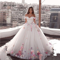 sevintage Ball Gown Hand Made Flowers Bridal Gowns Boho Wedding Dresses Off the Shoulder Bride Dresses vestido de novia sirena