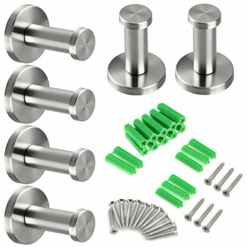 6Pcs/set Clothes Robe Hooks Stainless Steel Bathroom Door Hanger Hook For Towels Bag Wall Mounted Coat Hanger With Screws