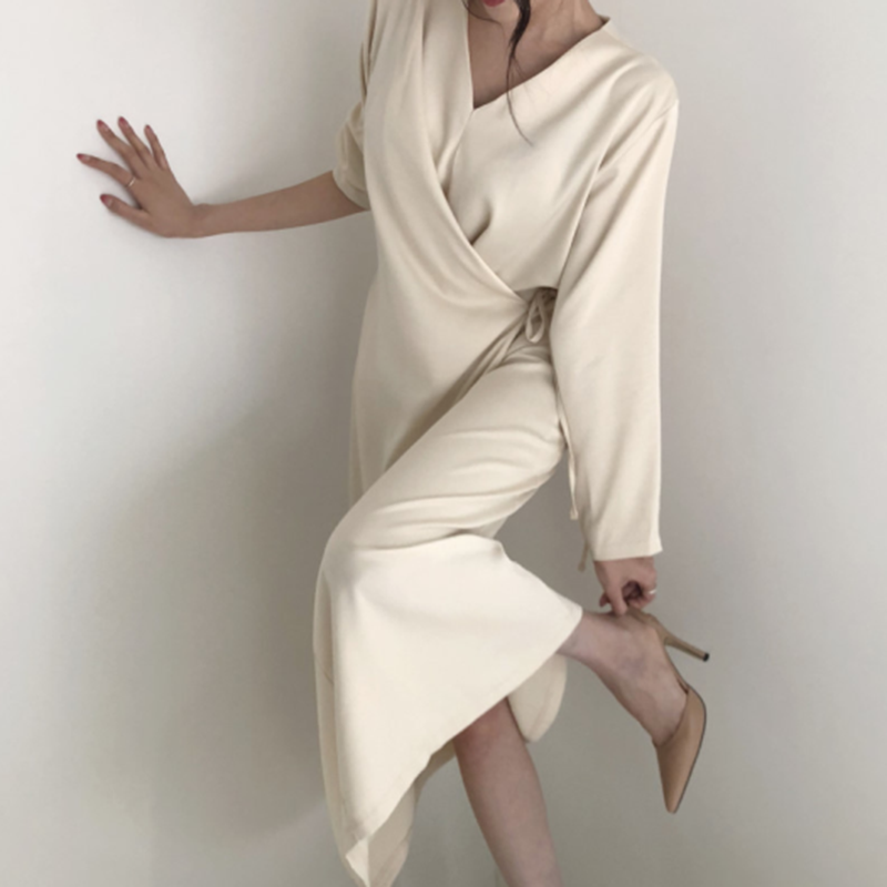 Solid Long Midi Dress Women Long Sleeve V Neck Lace Up Elegant Party Dress Casual Slim Autumn Plus Size Sexy White Dress V525