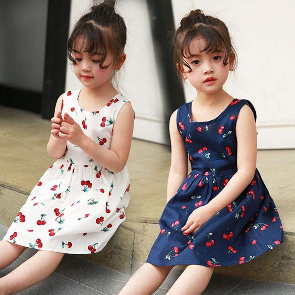 2020 New Vest Girls Clothing Summer Princess Dress Toddler Girls V-Backless Cherry Tutu Ball Gown Kids Party Children Clothes
