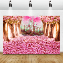 Laeacco Baby Shower Photocall Pink Flowers Blooming Trees Castle Photography Backgrounds Newborn Backdrops Birthday Photophone