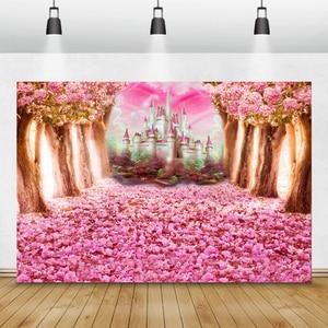 Image 2 - Laeacco düğün Photophone doğum günü yenidoğan arka Wonderland orman pembe çiçekler ağacı kale prenses fotoğraf Backdrop