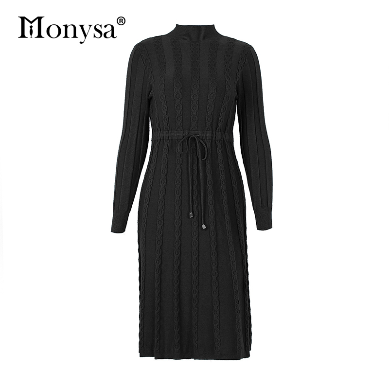 Autumn Winter Dresses 2019 New Arrival Fashion Casual Knee Length Knitted Dress Ladies Long Sleeve Sweater Dresses Black Blue 88