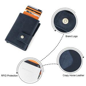 Image 5 - 연락처 빈티지 신용 카드 홀더 차단 미친 말 가죽 카드 지갑 남여 보안 정보 알루미늄 지갑 RFID