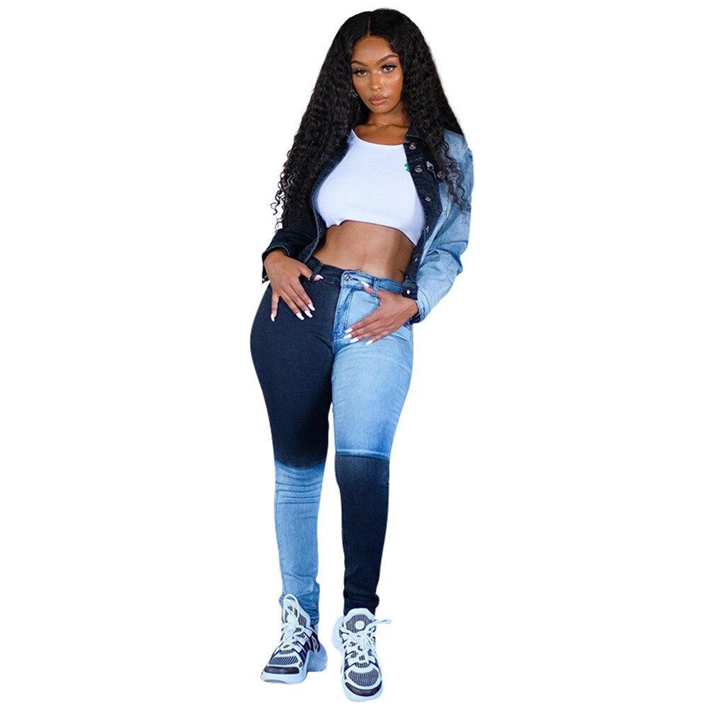 Casual Women Denim Jeans pants Color Patchwork Pants Streetwear High Waist jeans for women Long Pants femme Size S-2xl