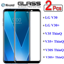 2 Pieces NicoTD Protective Glass on the For LG V30 V35 V30S ThinQ V30 V35 Plus Full Cover Screen Protector Tempered Glass Film
