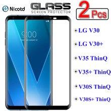 Защитное стекло NicoTD для LG V30 V35 V30S ThinQ V30 V35 Plus, пленка из закаленного стекла с полным покрытием, 2 шт.