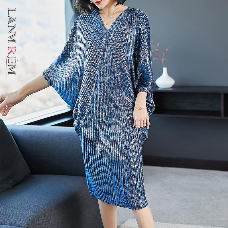 LANMREM 2021 di alta qualità New Fashion V colletto pieghe manica a pipistrello allentato abito di grandi dimensioni per le donne stampa abbigliamento Vestido YE853