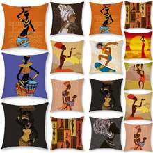 Красивый чехол для подушки Африканской женщины из полиэстера
