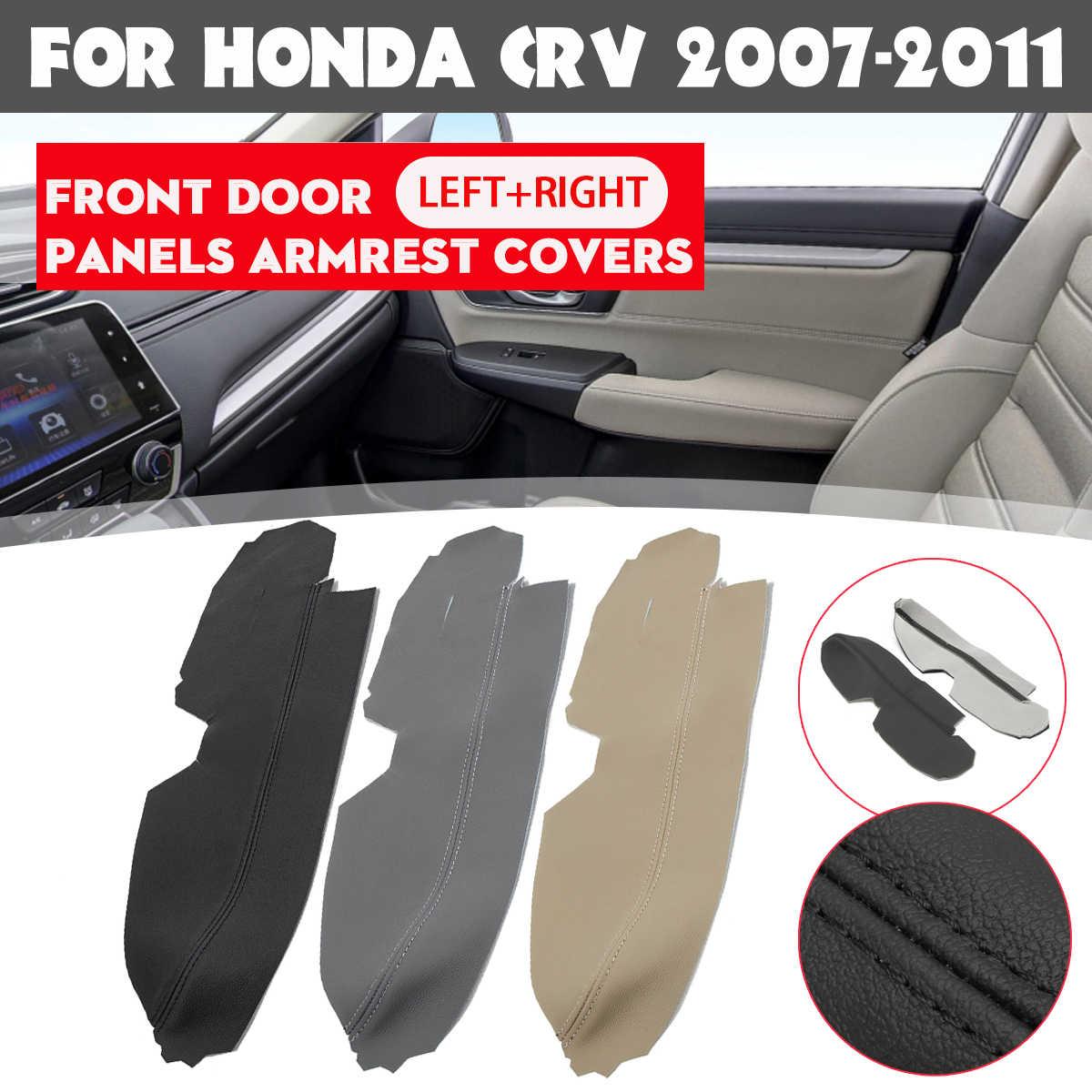 Silverdrew 1 par de Paneles de Puerta Delantera de Coche de Cuero de PU Real Izquierdo y Derecho Cubiertas de reposabrazos para Honda//CRV 2007-2011