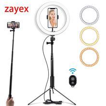 10 inç selfie LED halka ışık ile Tripod standı makyaj, canlı akış ve Youtube Video, kısılabilir yüzük lamba fotoğrafçılık için
