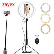 Anel de luz de led de 10 polegadas para selfie, com suporte de tripé para maquiagem, streaming ao vivo e vídeo do youtube, lâmpada de anel regulável para fotografia