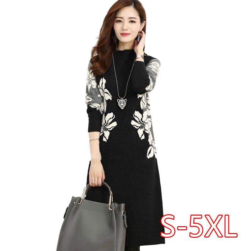 2019 Autumn Winter Dress Women Vintage Printed Dress Thick Long Sleeve Female Casual Loose Midi Dresses Vestidos Plus Size 4XL