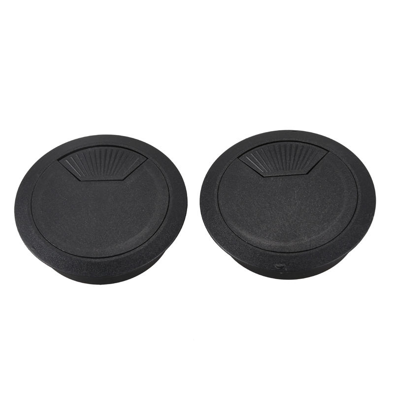 HOT-2 Pcs 53mm Diameter Desk Wire Cord Cable Grommets Hole Cover Black