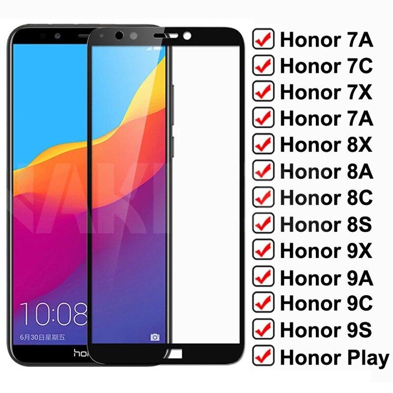 9d proteção de vidro para huawei honor 7a 7c 7x 7s cobertura completa vidro temperado honra 8x 8a 8c 8s 9x 9a 9c 9s jogar protetor de tela