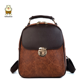 2020 Pu Leather Women's Zipper Backpack Girls Hit Color Bags Fashion Design Package Student Bag