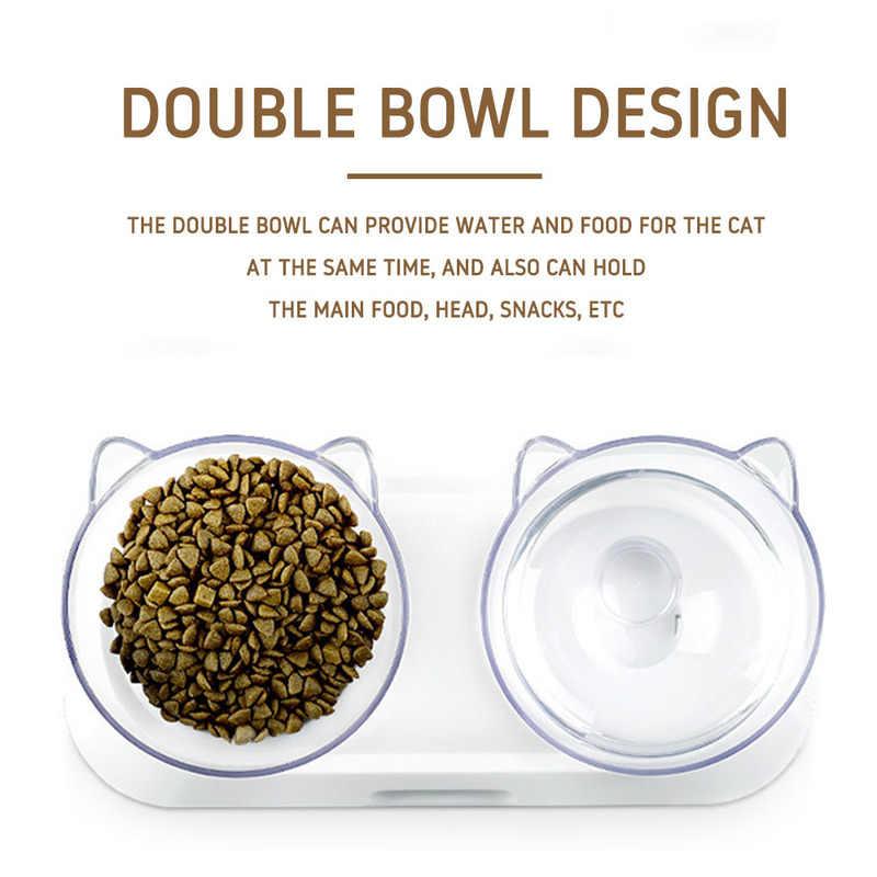 Kaymaz kedi kase plastik sevimli ile çift çanaklar yükseltilmiş Stand Pet gıda su kaseleri kediler için köpek besleyiciler evcil hayvan malzemeleri