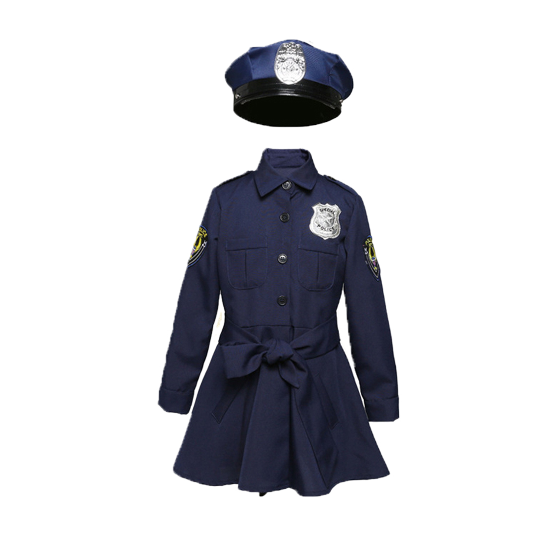 3Pcs Pretend Play Cute <font><b>Police</b></font> Dressup Set Policewoman Costume For 130cm-145cm/120cm-130cm/110cm-120cm/90cm-110cm Kids - L M S XS image