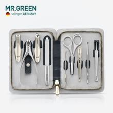 MR. GRÜN Hohe qualität Stainleess Stahl pflege kit 9 in 1 nail clipper set Rindsleder paket Maniküre nagel pflege gute geschenk