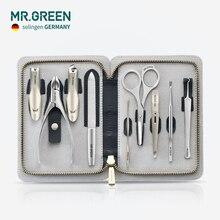 MR. Yeşil yüksek kaliteli paslanmaz çelik tımar kiti 9 in 1 tırnak makası seti inek derisi paketi manikür tırnak bakımı için iyi bir hediye