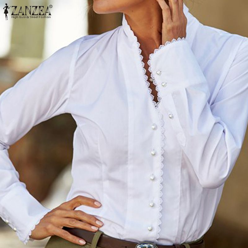 Stylish ZANZEA Spring V Neck Long Sleeve Tops Women Lace OL Blouse Casual Ruffles Shirts Buttons Down Blusas Femme Robe Chemise