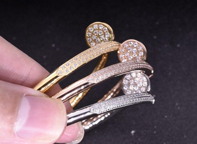 316L bijoux en acier inoxydable bracelet à ongles 3A zircon cubique partie un cercle bracelet pour femmes accessoires de mode Designer