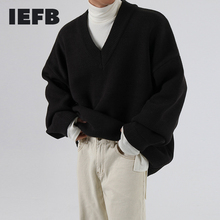 IEFB /men's wear autumn winter V-neck sweater fashionable loose style knitted tops thickened loose vintage clothes male 9Y3277