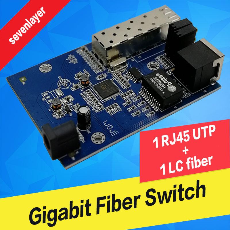 10/100/1000M Fiber Optical Media Converter 1 Port Sfp To 1 Rj45 Gigabit Optical Fiber Ethernet For Ip Camera PCBA