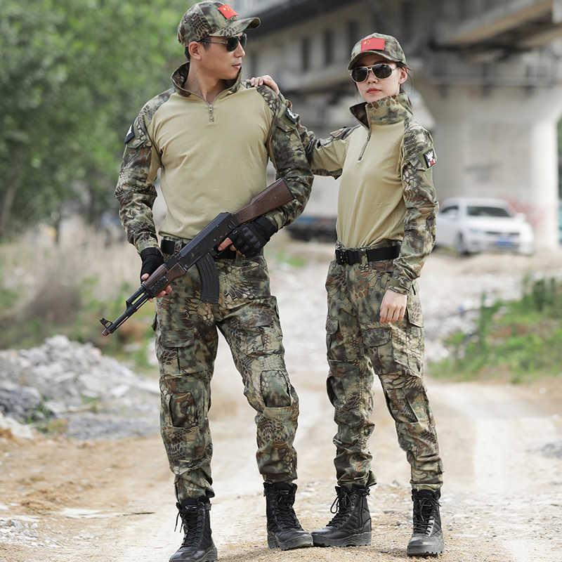 Seragam Militer Katak Sesuai Taktis Pakaian Tempur Terbukti Kemeja Airsoft Menyamar Prajurit Tentara Kamuflase Berburu Pakaian