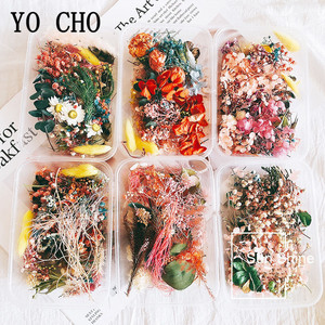 YO CHO 1 Box 10 Kind Dried Flower DIY Accessories Dry Aromatherapy Candle Epoxy Resin Pendant Craft Home Wedding Flower Decor