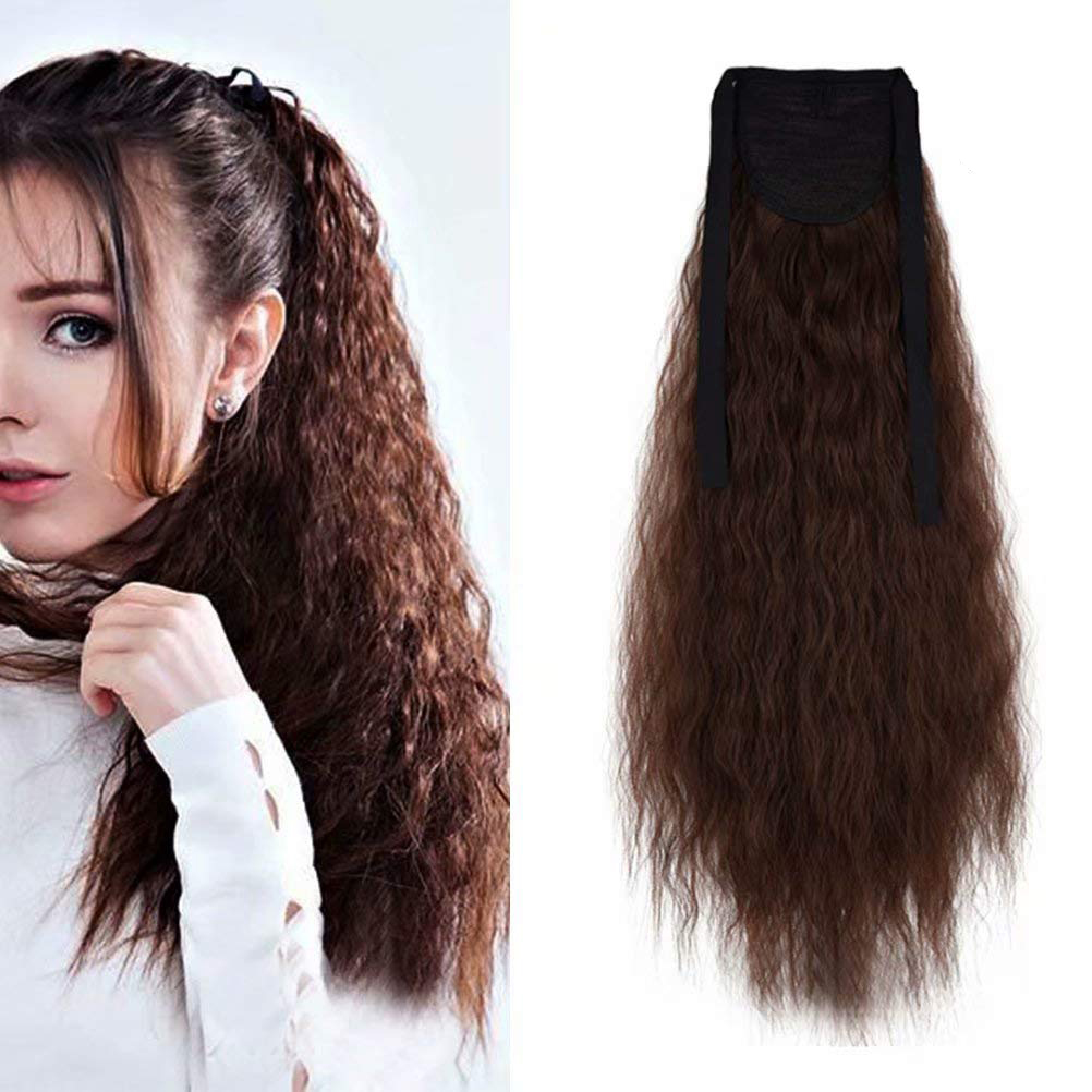 XNaira High Temperature Fiber Hair Long Corn Curly Fake Clip InHair Ribbon Ponytail Extensions Synthetic  Extensions For Women
