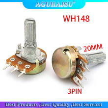 5pcs WH148 3PIN 20MM B1K 1K OHM Single Rotary Potentiometer Pots Shaft 20MM With Nuts Single couplet potentiometer