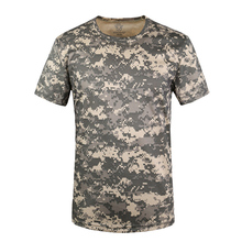 Tanie letnie mężczyźni mundur wojskowy armia garnitur 3D drukuj ACU kamuflaż pustynny Airsoft taktyczne T-shirt polowanie piesze wycieczki Tees tanie tanio Poliester Topy Tkane Military uniform polyester One t-shirt Camouflage Outdoor Military Uniform Army Combat SWAT Sports